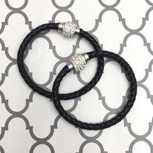 Jewelry - 🆕 Black & Silver Braided Leather Bracelets